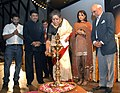 Ambika Soni lighting the lamp at the inaugural function of the Mumbai International Film Festival for Documentary, Short and Animation Films (MIFF-2010) in Mumbai on February 03, 2010.jpg