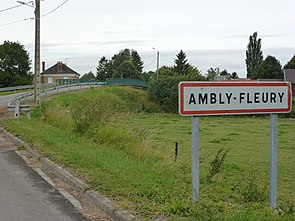 Ambly-Fleury (Ardennes) city limit sign and bridge Canal des Ardennes.JPG