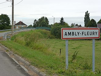 Ambly-Fleury - Entry to the village and the bridge over the Ardennes canal