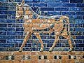 An Auroch symbol of Adad (Hadad) storm and rain god of ancient Mesopotamian religions on the Ishtar Gate of Babylon reconstructed with original bricks at the Pergamon Museum in Berlin 575 BCE (4) (31806178803).jpg