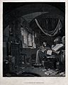 An alchemist peacefully writing in a room strewn with papers Wellcome V0025551.jpg
