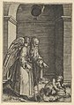 An elderly winged man with a long beard walking with crutches, possibly representing Time gesturing towards a young child holding a sieve MET DP854363.jpg