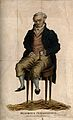 An elderly wretched man with a deformed hand, sitting on a t Wellcome V0011151.jpg