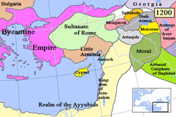 Map of Anatolia (grey) and surrounding in AD 1200