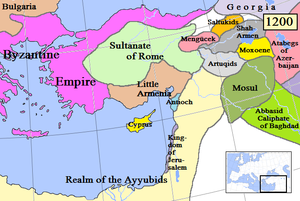 Map of the Crusader States, Lesser Armenia and its surroundings in 1200