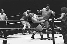 v.l.n.r. scheidsrechter, Big John Studd, King Kong Bundy, André the Giant en Hillbilly Jim