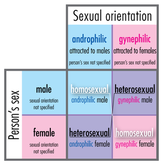 Androphilia and gynephilia - Diagram showing relationships of sex (X axis) and sexuality (Y axis). The homosexual/heterosexual matrix lies within the androphilic/gynephilic matrix, because homosexual/heterosexual terminology describes sex and sexual orientation simultaneously.