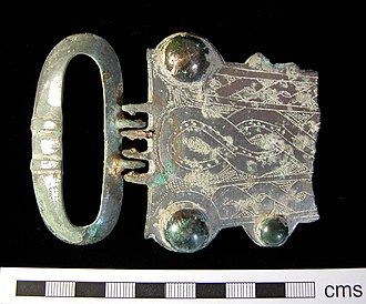 Anglo-Saxon dress - 7th century buckle with triangular plate