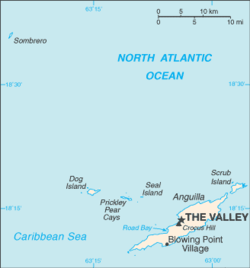 The Valley's location on Anguilla