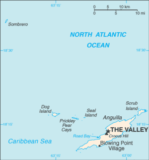 Sombrero, Anguilla - Map of Anguilla; Sombrero is at upper left
