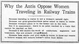 Anti-suffragism - Alice Duer Miller's satire of Anti-Suffrage arguments from The Daily Telegram in 1916.