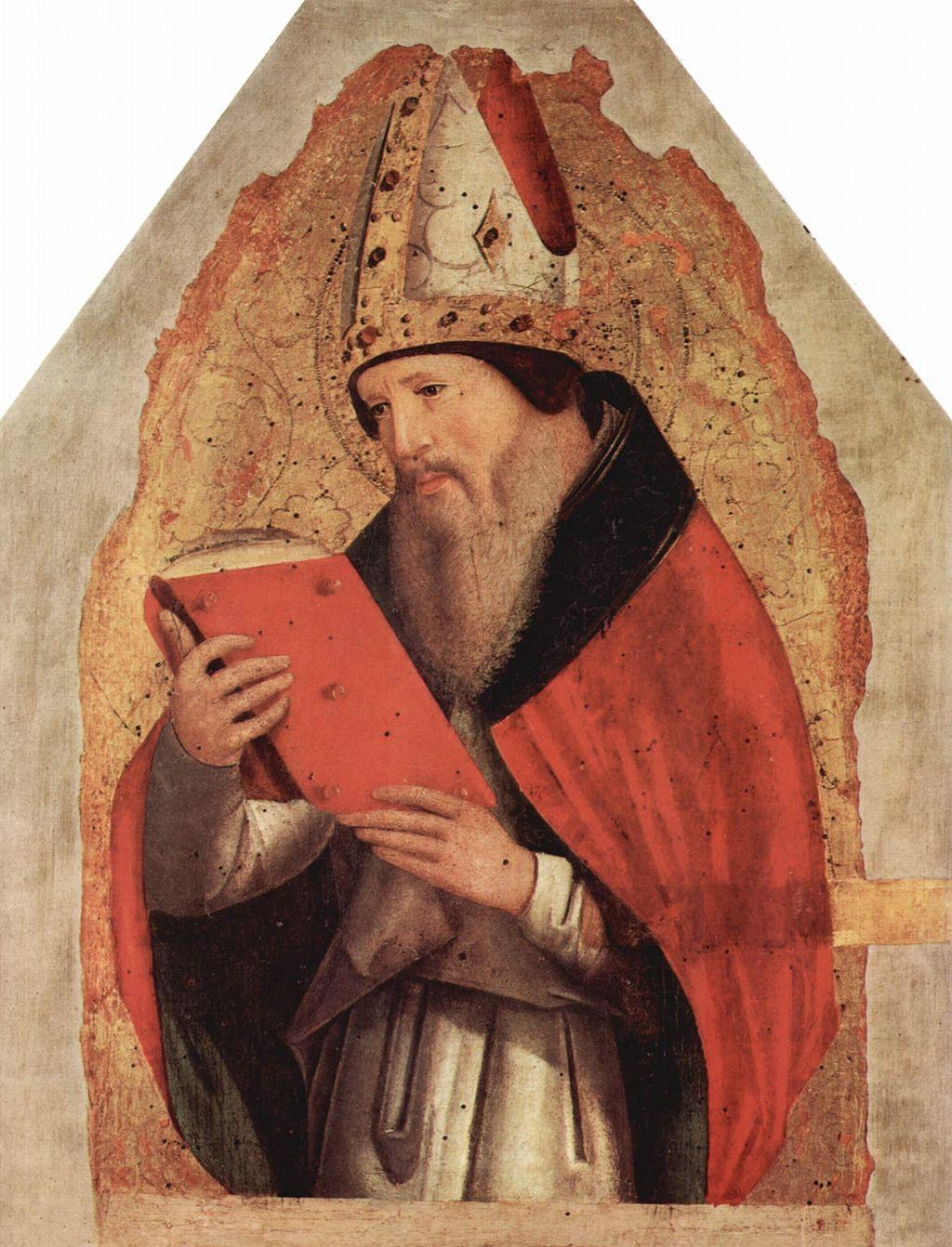 St. Augustinus,data circa 1472-1473, tempera on panel, 46.5 × 36 cm (18.3 × 14.2 in), Galleria Regionale della Sicilia, Palermo