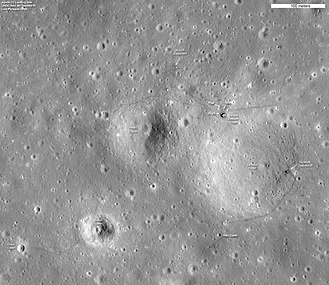 Mare Cognitum - Aerial photo of Statio Cognitum; craters, the Lunar Module descent stage, and Surveyor 3, among other landmarks, are labeled (click to enlarge). The astronauts' footprints are still visible.