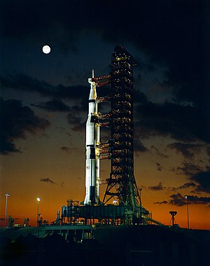 Early morning view on November 9, 1967 of Pad A, Launch Complex 39, Kennedy Space Center, showing Apollo 4 Saturn V (Spacecraft 017/Saturn 501) prior to launch later that day. This was the first launch of the Saturn V.