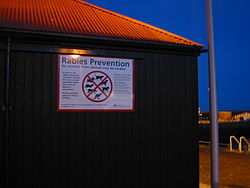Sign at a UK port showing rabies prevention measures aimed at merchant seamen