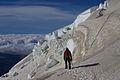Argentina - Mt Tronador Ascent - 38 - descending below the ice walls (6962478435).jpg