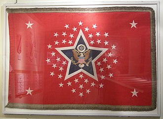 Flag of the President of the United States - A 46-star color on display at the Army Quartermaster Museum