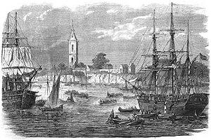 Battle of Corrientes - Arrival of Brazilian reinforcements at Corrientes (Paraná) — L'Illustration, 1866.