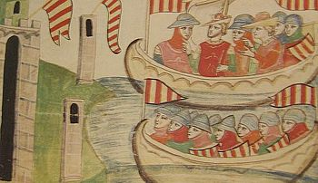 Peter's fleet lands in Trapani, Peter wears a crown (Biblioteca Vaticana)