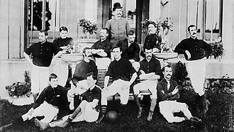 Royal Arsenal squad in 1888. Original captain, David Danskin, sits on the right of the bench Arsenal 1888 squad photo.jpg
