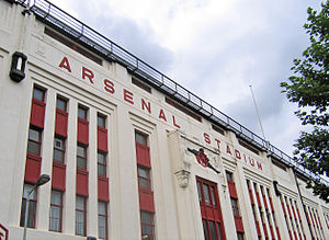 Arsenal Stadium - The façade of the East Stand, on Avenell Road, in 2005.