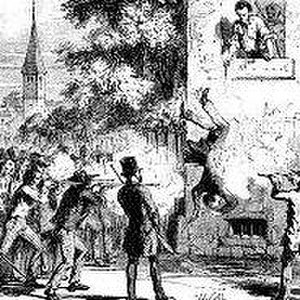 Death of Joseph Smith - Hit by a ball, Smith fell from the second story window