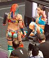 Asuka and Bayley post-match at NXT TakeOver Dallas.jpg