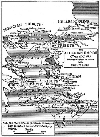Delian League - Athenian Empire in 445 BC, according to the Tribute Lists. The islands of Lesbos, Chios and Samos (shaded on the map) did not pay tribute.