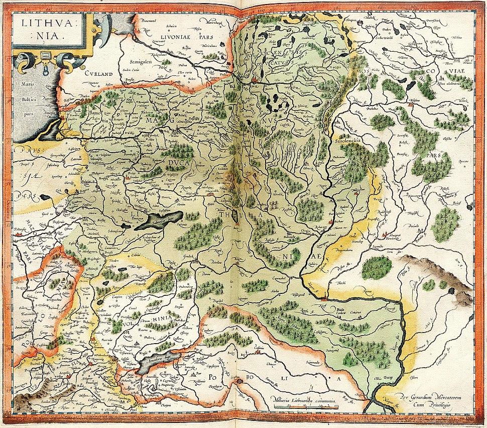 Atlas Cosmographicae (Mercator). Вялікае Княства Літоўскае. 1595