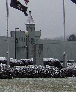 Attica Prison riot - Memorial to the officers and other prison employees who died in the riot in front of the prison.