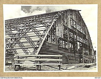 "Merriland Hall - Australian Army canteen ""igloo"" under construction in Atherton, Queensland, 1943"