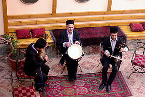 Mugham - Mugham performers in Baku. From left (tar, daf, kamancha)