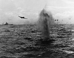 B6N torpedo bomber attacking TG 38.3 during the Formosa Air Battle, October 1944.jpg