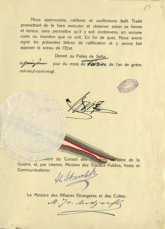 Treaty of Neuilly-sur-Seine - Ratification of the Treaty of Neuilly-sur-Seine, signatures of Boris III of Bulgaria, Aleksandar Stamboliyski and Mihail Madzharov.