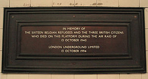 Bounds Green tube station - Memorial plaque placed in 1994 for the 1940 air raid victims