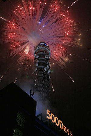 BT Tower (London) seen during a firework displ...