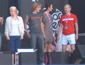 BWO (band) - BWO (right) alongside Robyn (left) during a Swedish on-stage radio show, July 2005