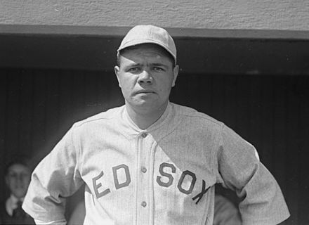 Ruth in 1918, his penultimate year with the Red Sox Babe Ruth Red Sox 1918.jpg