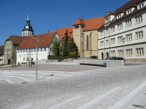 Backnang - Stiftshof, the local court, on the right