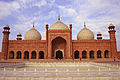 Badshahi Mosque main hall view from water fountains.JPG
