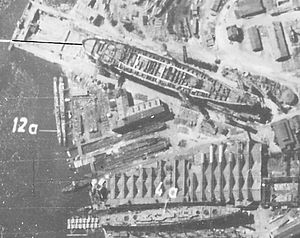 Sovetsky Soyuz-class battleship - Luftwaffe aerial reconnaissance photo of the Ordzhinikidze Yard (Shipyard 189), Leningrad, showing the battleship Sovetsky Soyuz (top) and cruiser Chkalov under construction, 26 June 1941