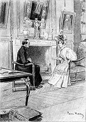 Assis au bord d'une cheminée dans un salon, un curé cause avec une dame richement habillée.