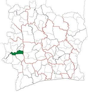 Bangolo Department - Image: Bangolo Department locator map Côte d'Ivoire