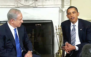 A New Beginning - President Obama talking with Benjamin Netanyahu at the White House on 18 May 2009.