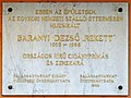 Baranyi Dezső plaque (Balassagyarmat Rákóczi fejedelem út 23).jpg