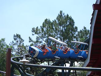 The Barnstormer - One of the Barnstormer's trains going through a turn when the trains were painted blue and white with orange before it was repainted with red and brown for the current ride
