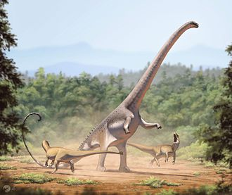 Barosaurus - Life reconstruction of an individual rearing up to defend itself against a pair of Allosaurus