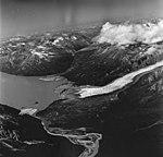 Barrier Glacier, terminus of piedmont glacier, U-shaped valley in the center background, August 26, 1969 (GLACIERS 6526).jpg