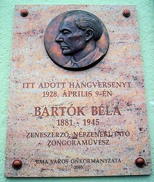 Béla Bartók memorial plaque in Baja, Hungary