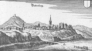 Battenberg (Bildmitte) und die Kellerburg (links) - Auszug aus der Topographia Hassiae von Matthäus Merian 1655
